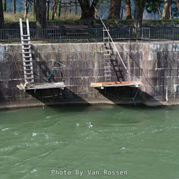 Native American fishing platforms hanging where the lock gate use to be.
