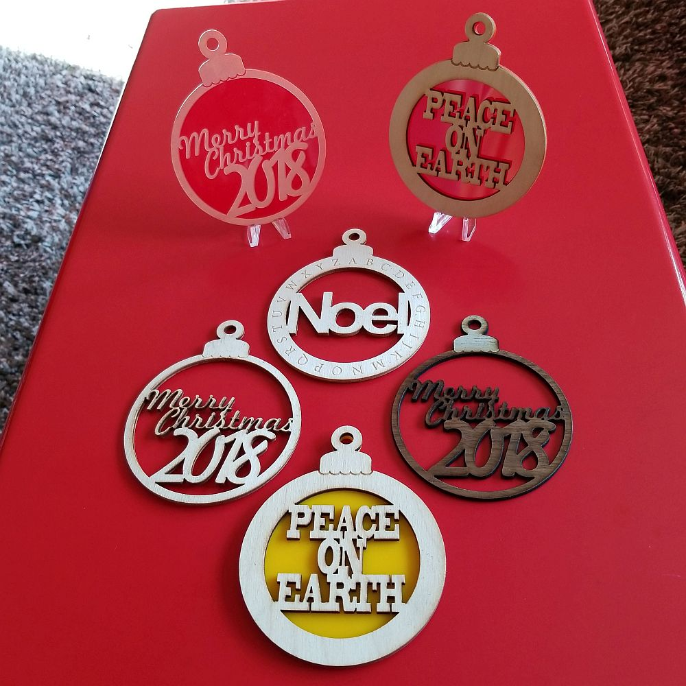 Laser Engraved Christmas Ornament Collection