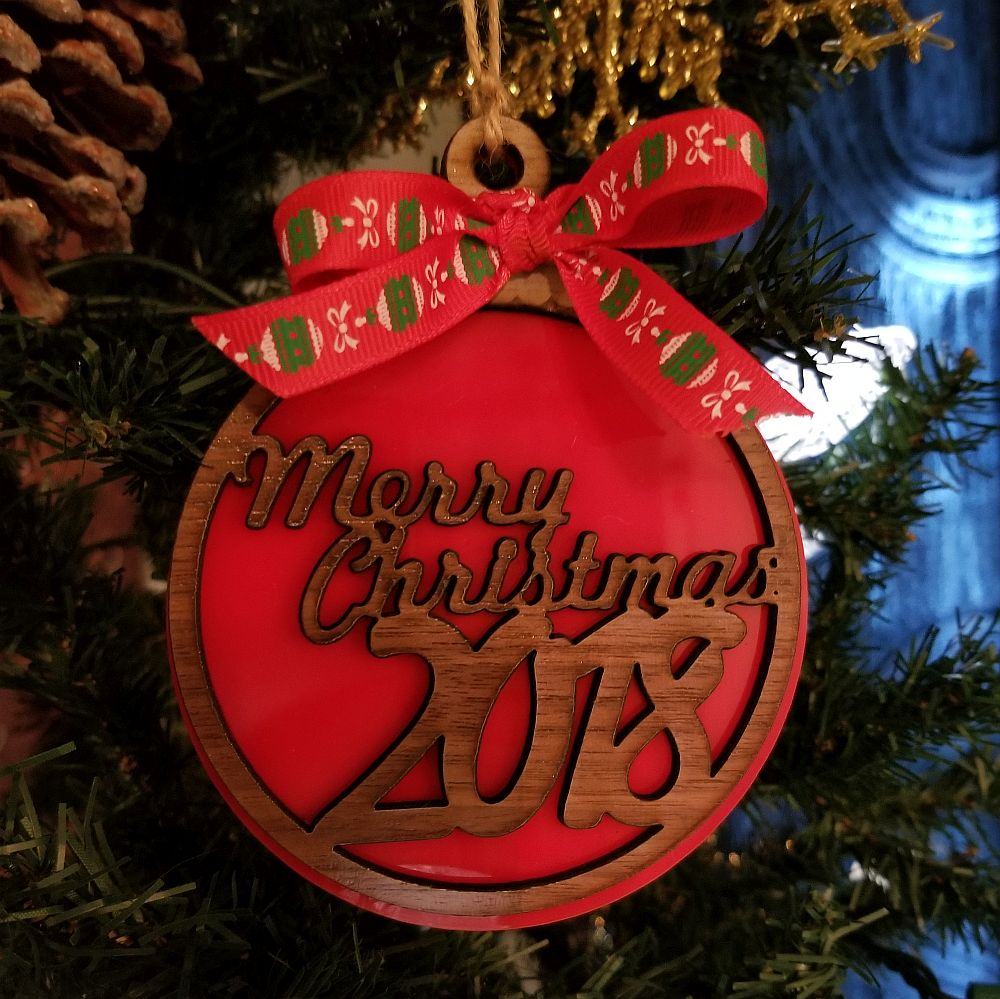 Merry Christmas Laser Engraved Christmas Ornament