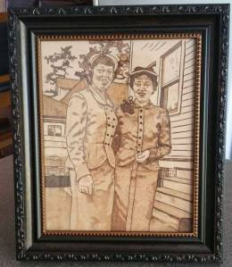 Old School Sisters - Pyrography on Leather Portrait - Framed