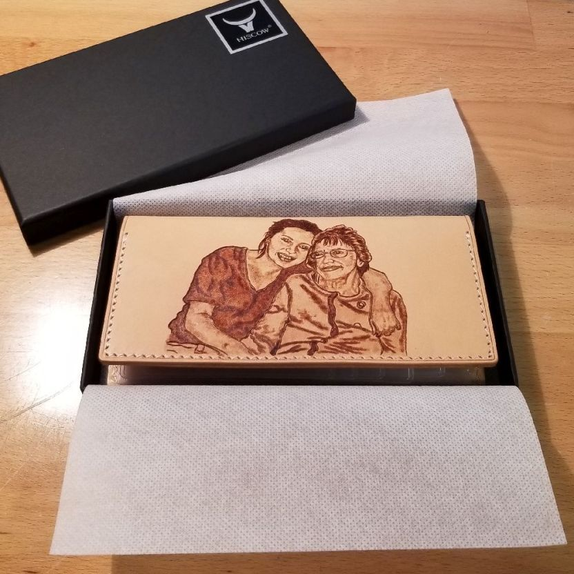 Lady's Leather Wallet - Grandma Remembrance Portrait