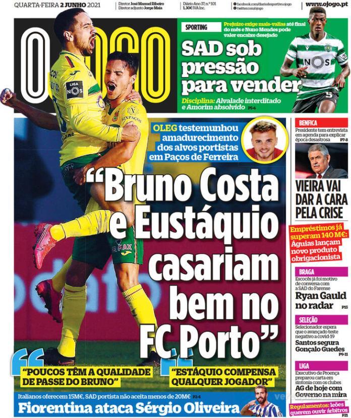 Capas jornais desportivos 02-06-2021