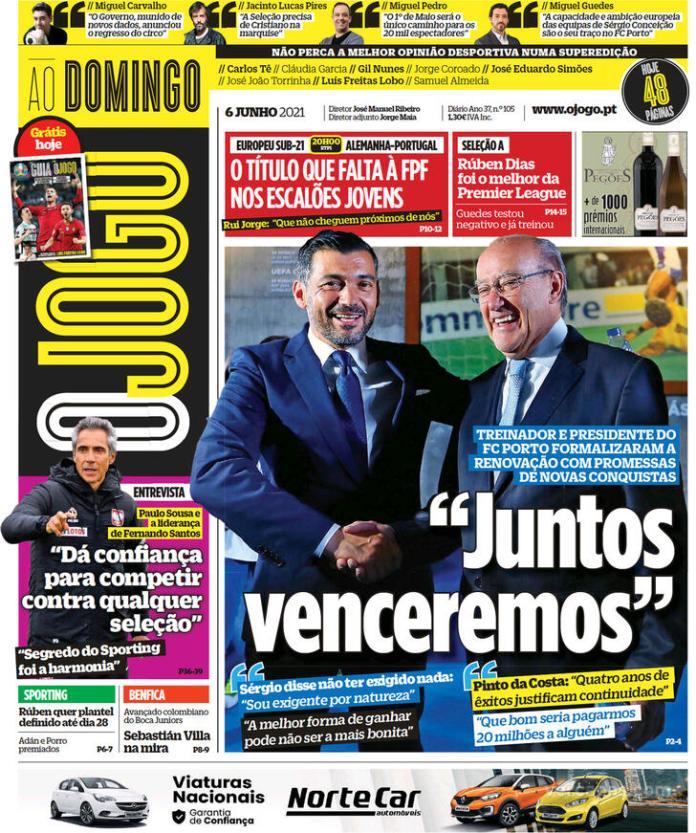 Capas jornais desportivos 06-06-2021