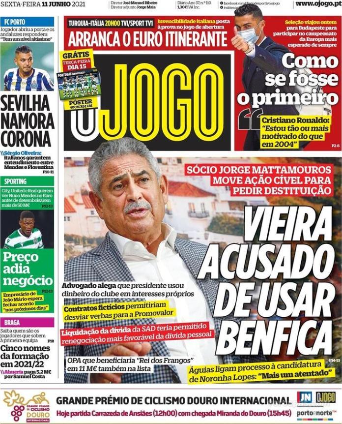 Capas jornais desportivos 11-06-2021