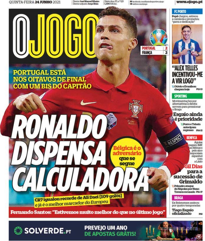 Capas jornais desportivos 24-06-2021