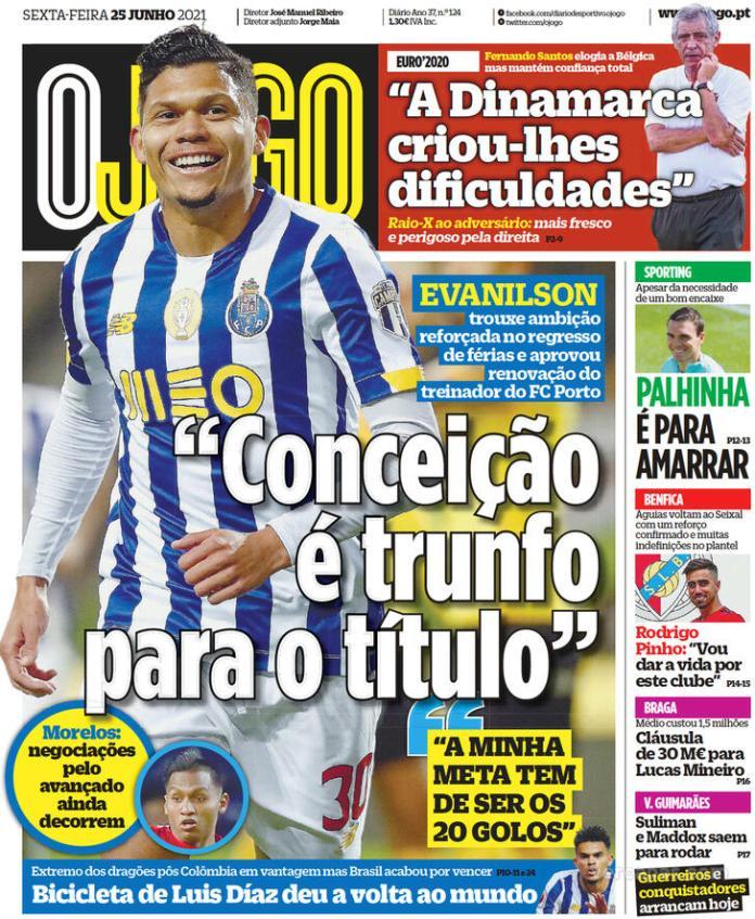 Capas jornais desportivos 25-06-2021