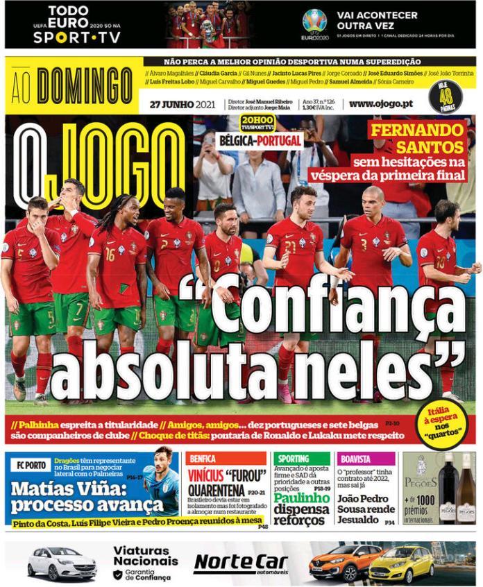 Capas jornais desportivos 27-06-2021