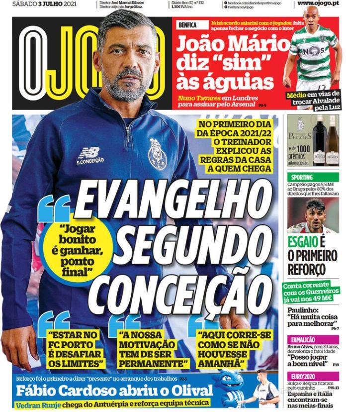 Capas jornais desportivos 03-07-2021
