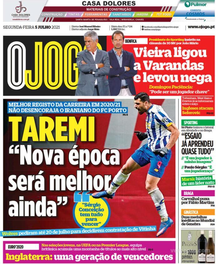 Capas jornais desportivos 05-07-2021