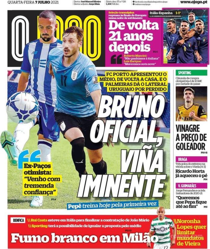 Capas jornais desportivos 07-07-2021