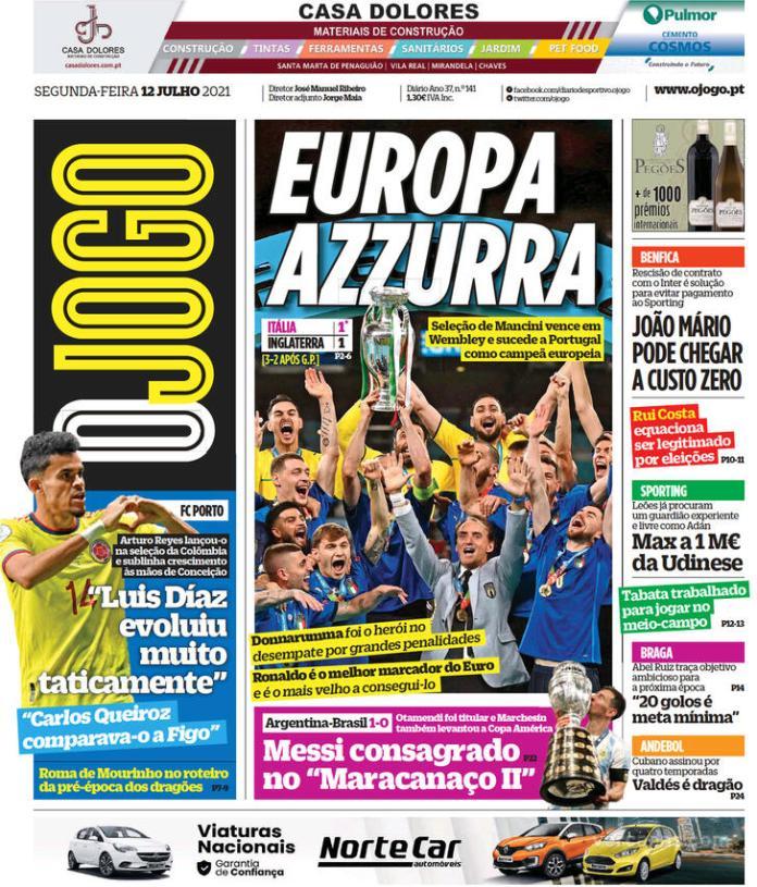 Capas Jornais desportivos 12-07-2021