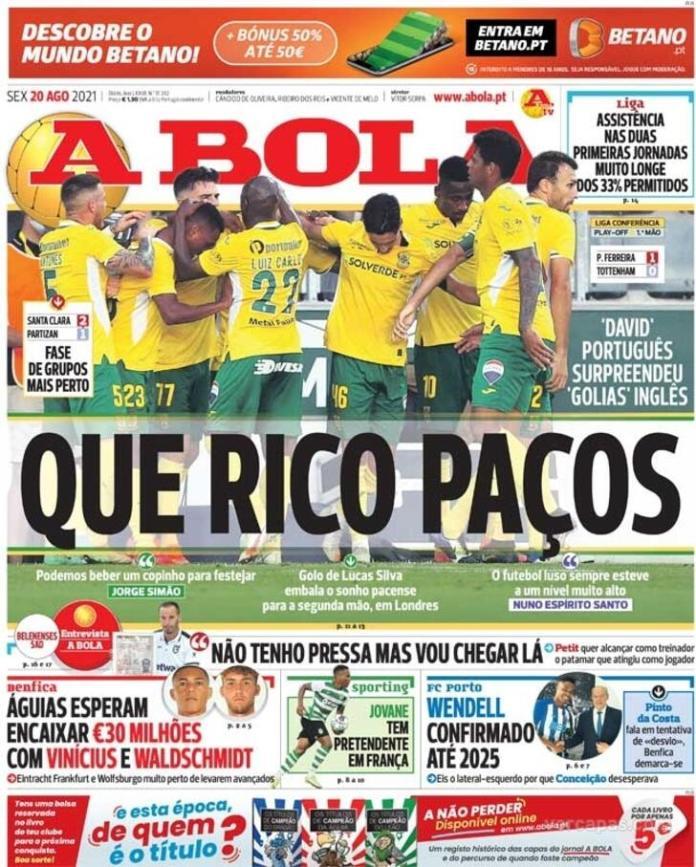 Capas Jornais desportivos 20-08-2021