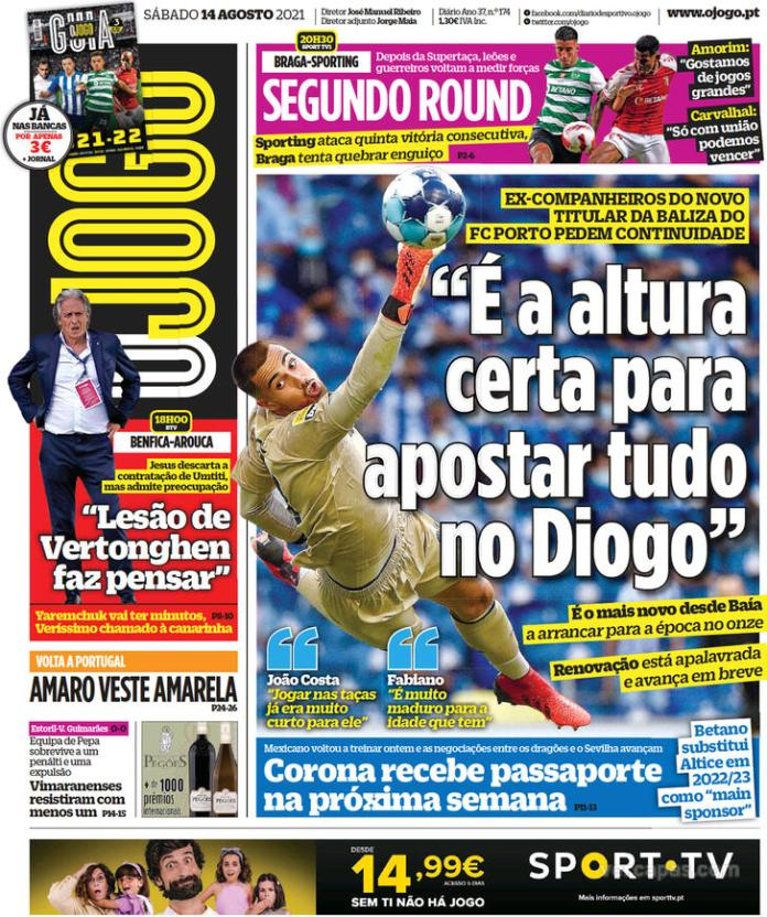 Capas Jornais desportivos 14-08-2021