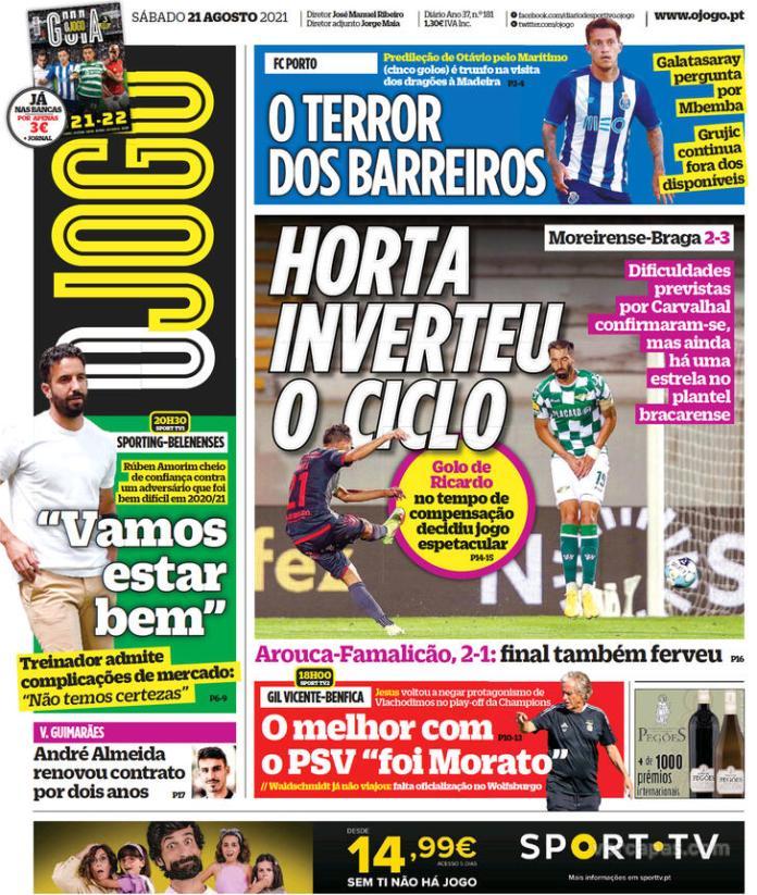 Capas Jornais desportivos 21-08-2021