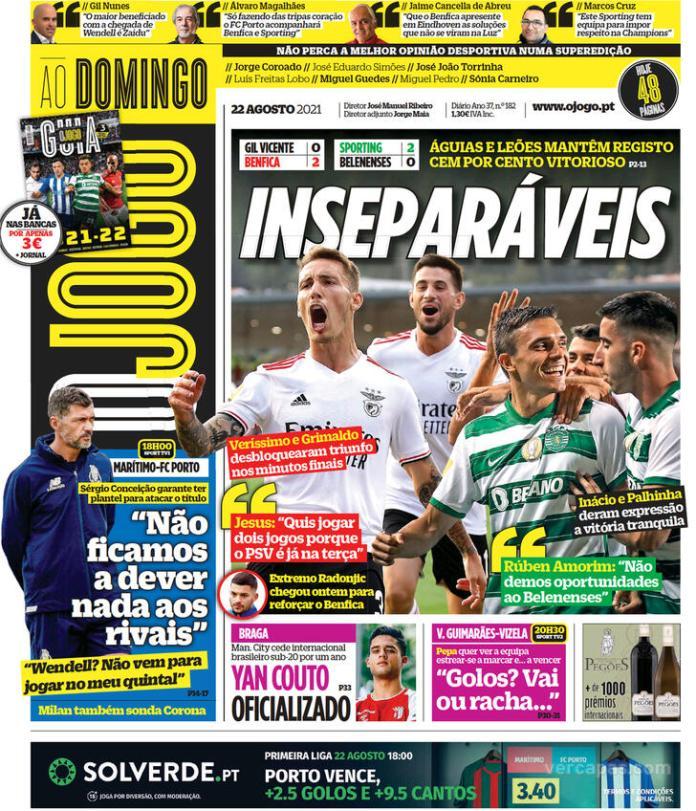 Capas Jornais desportivos 22-08-2021