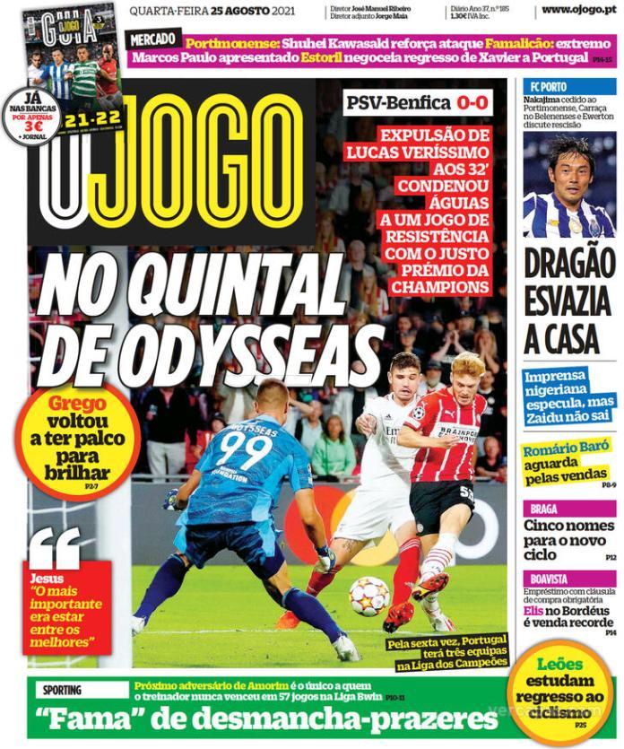 Capas Jornais desportivos 25-08-2021