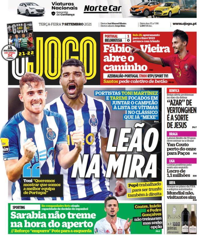 Capas Jornais desportivos 07-09-2021