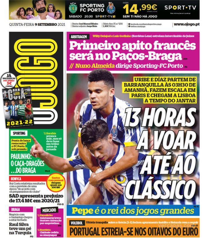 Capas Jornais desportivos 09-09-2021