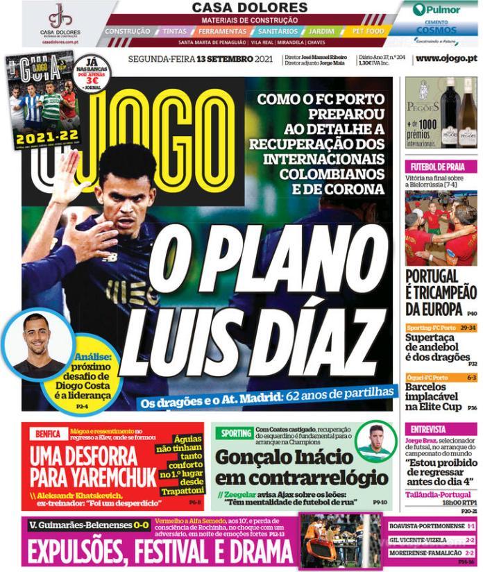 Capas Jornais desportivos 13-09-2021