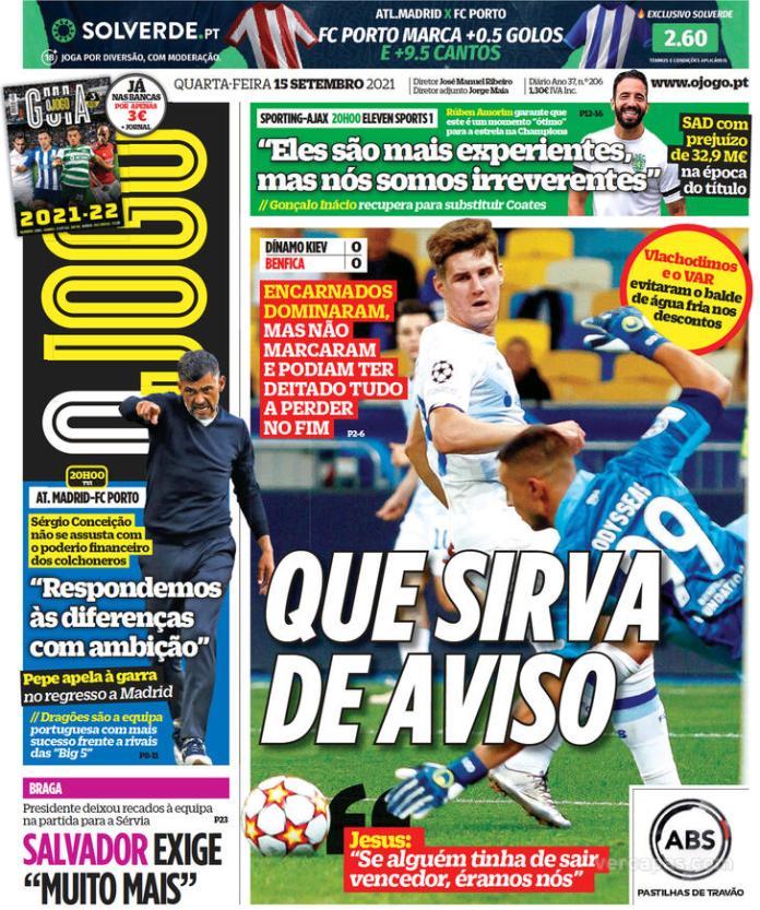 Capas Jornais desportivos 15-09-2021