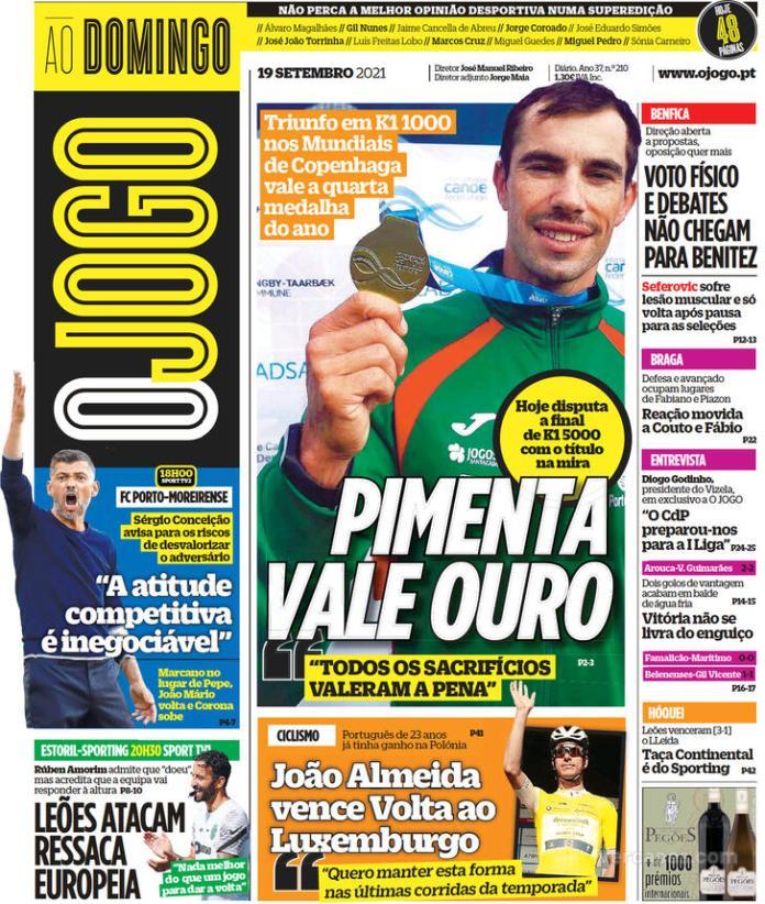Capas Jornais desportivos 19-09-2021
