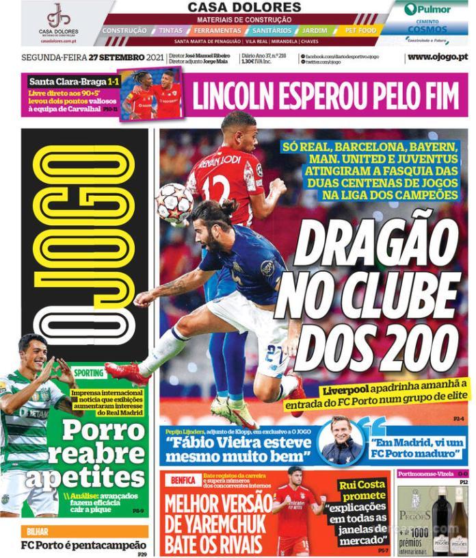 Capas Jornais desportivos 27-09-2021