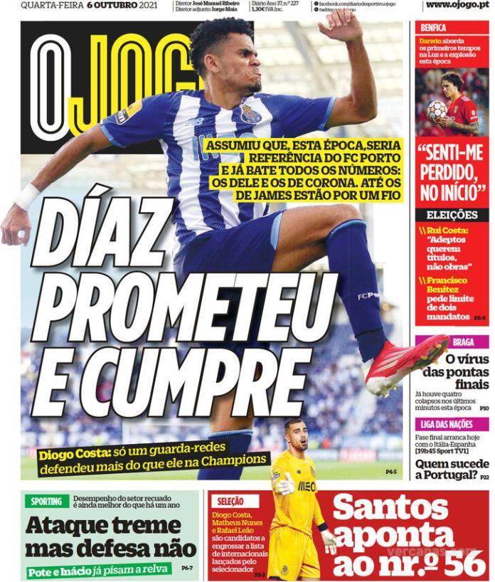 Capas Jornais desportivos 06-10-2021