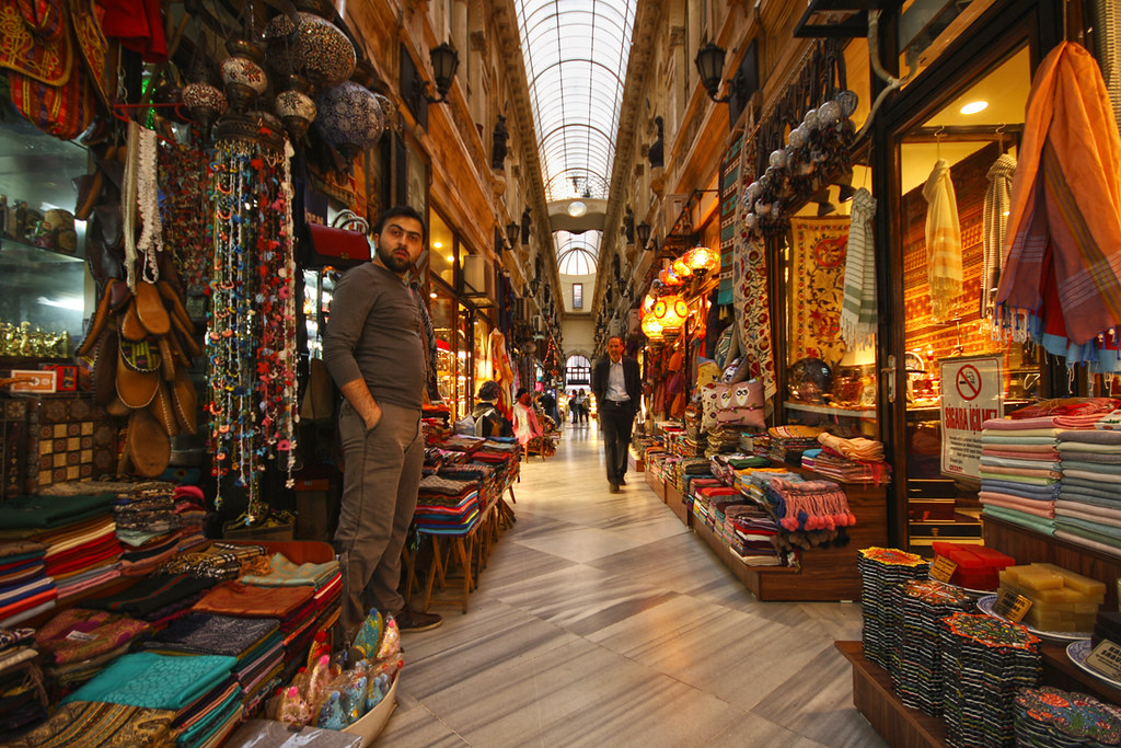 Avrupa Pasajı, an antique atrium with several colorful shops and vendors of traditional goods. Istanbul