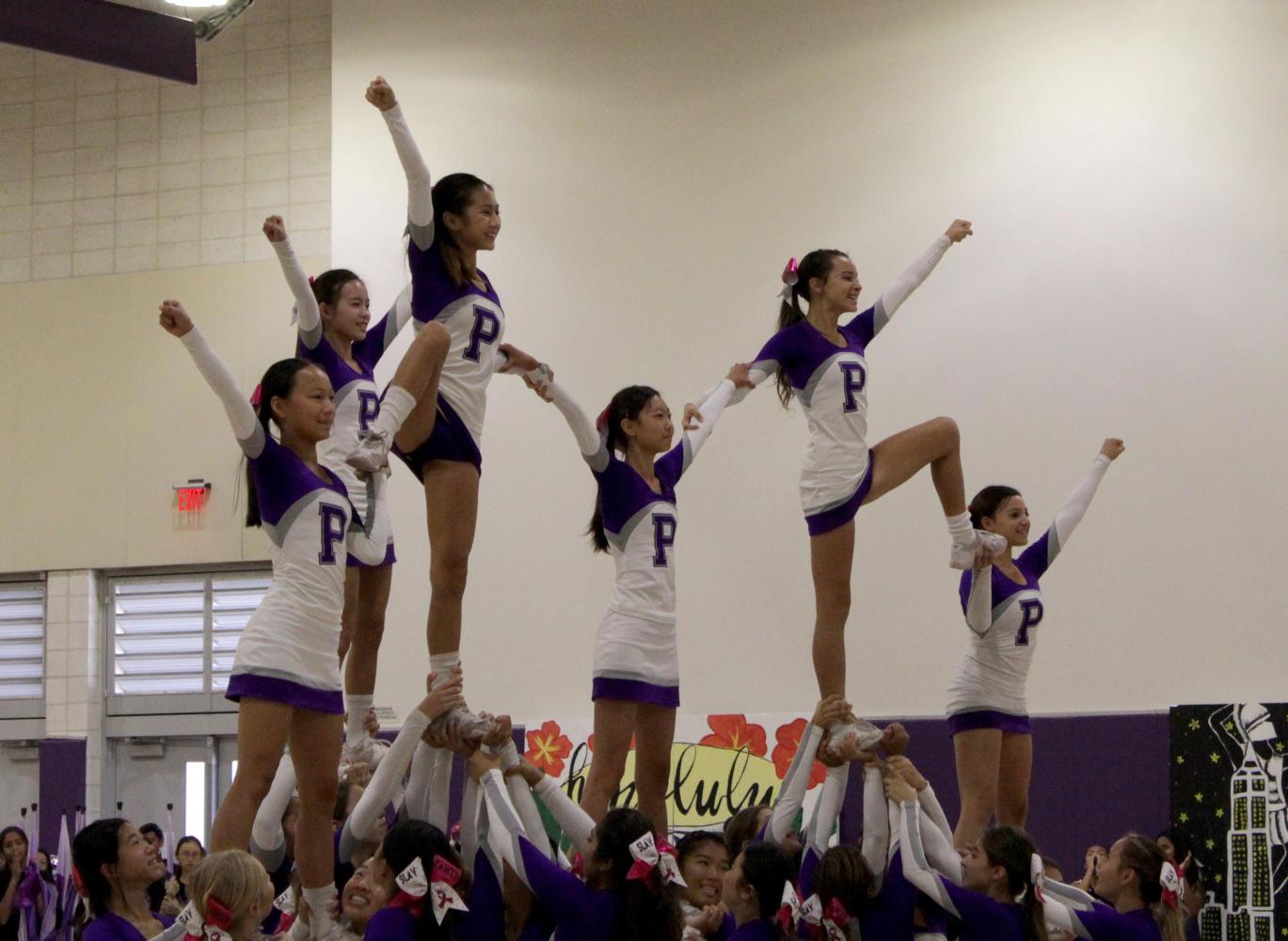 Cheerleaders Leyna Liu, Vivian Lin, Jessalyn Nguyen, Mary Lu, Ryan Aguilar and Yarden Gilat hit the mark in their final formation.