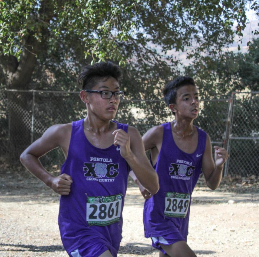 Freshmen+Kensay+Sato+and+Damian+Vu+near+the+end+of+the+three-mile+course.