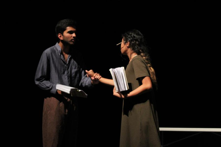 Freshman Samir Behera plays the role of John Proctor with freshman Kayla Espiritu as Abigail Williams.