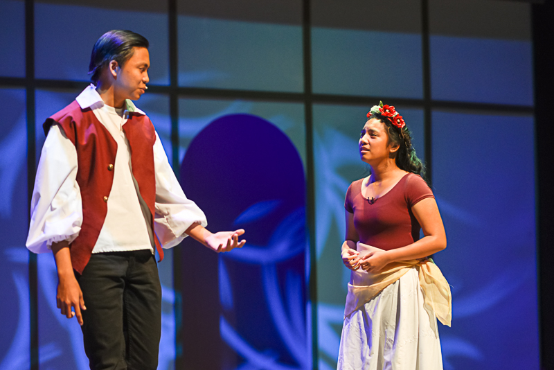 """Helena in """"A Midsummer Night's Dream,"""" played by junior Ashley Pagador, wowed audience members with her intense expressions and intonations. Pagador's acting prowess gave life to her character, a young maiden who has accidentally caught the attentions of the handsome Demetrius (sophomore Mccoy Cariaso) and Lysander (sophomore Ian Aros)."""