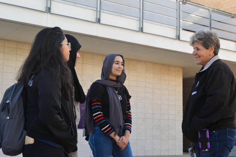 During her time here at Portola High, Kathy Elgohary has become very close with several students and she can regularly be found chatting with students about their days.