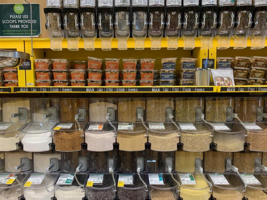 The+bulk+bins+found+at+Whole+Foods+Market+are+frequented+by+chemistry+teacher+Brittney+Kang+and+many+other+zero-wasters+for+enabling+the+option+of+reusable+containers+over+plastic+packaging.+