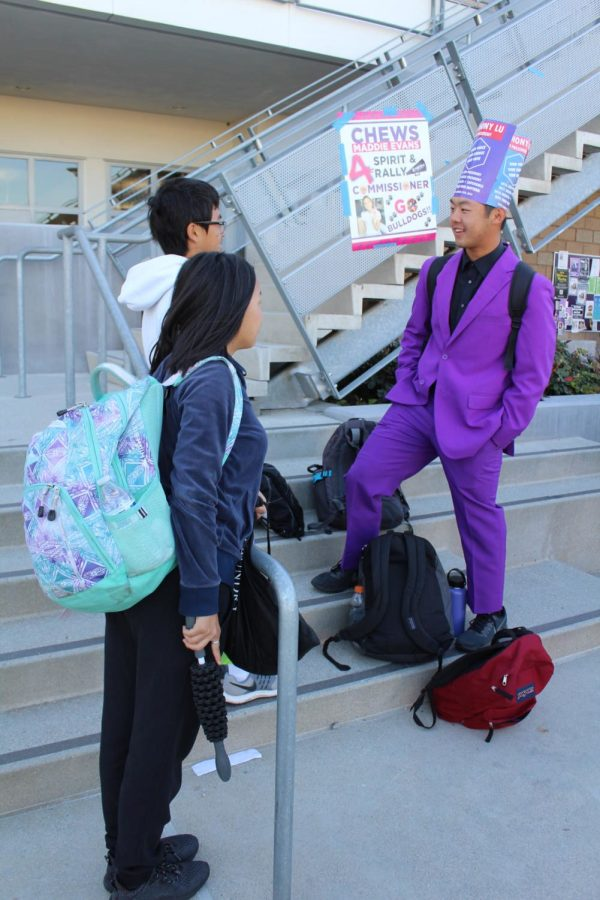 Presidential candidate and junior Anthony Lu speaks with junior Thomas Chen and sophomore Sandra Lu about why he wants to be president and his aspirations for ASB. Lu will be in the Election Convention on March 26 along with junior Mustafa Hassan.
