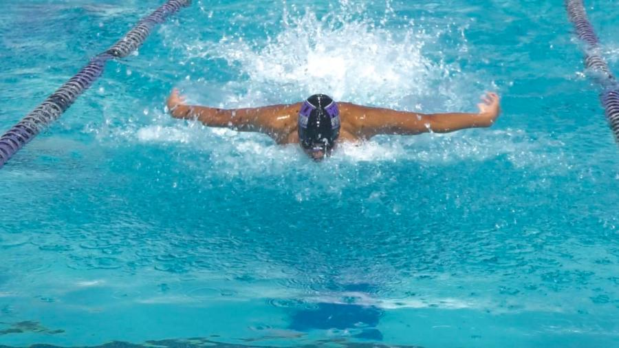 Sophomore Jun Kim swims in the butterfly portion of the 200-yard medley relay with juniors Bryce Nishikawa and Belal Ibrahim and sophomore Justin Pai swimming the backstroke, freestyle and breastroke, respectively. The swimmers obtained a 2nd place finish with a time of 1:42.93.