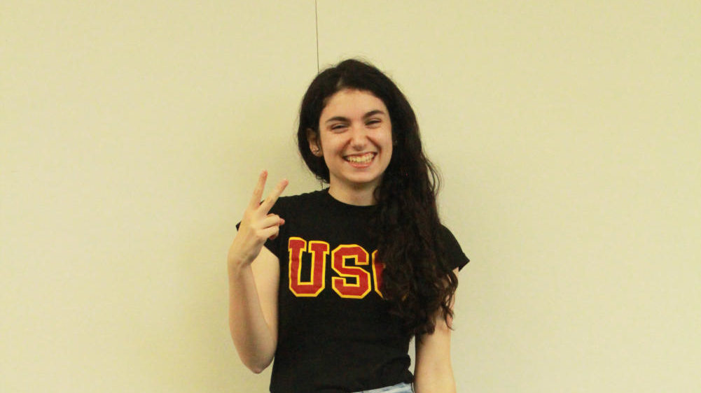 Liz Moerman sports a shirt from her future alma mater. USC became Moerman's dream school when her mom, a professor at USC, first introduced her to the campus.