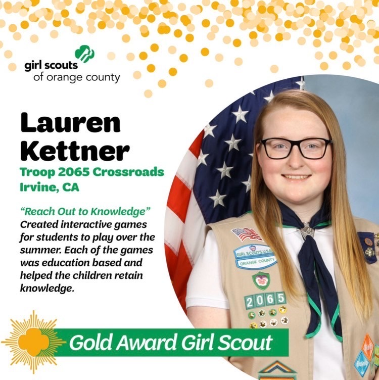"""Senior and Girl Scout Troop 2065 member Lauren Kettner successfully achieved her Gold Award by introducing her project """"Reach Out to Knowledge,"""" which focused on helping educate children on concepts they may forget throughout the summer at local libraries."""