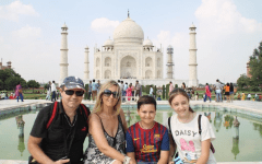 "Senior Gina Cardini, along with her parents and younger brother, visit the Taj Mahal on one of the many excursions the family took during their time living in India. ""I cherish those six years of my life with all my heart,"" Cardini said. ""Everything that I've done in those six years are literally some of my favorite memories in the world."""