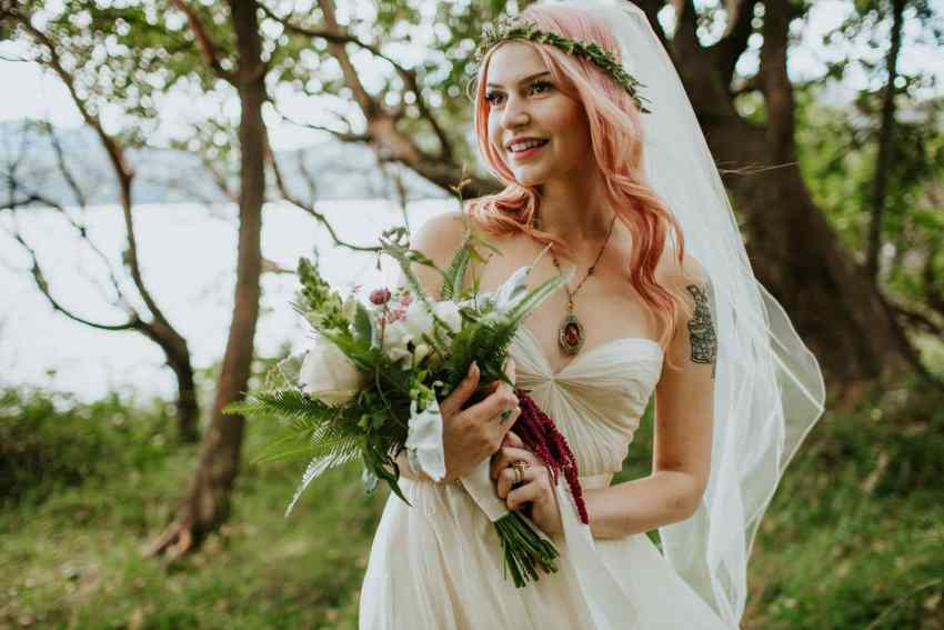 pink hair bride orcas island wedding odd fellows hall