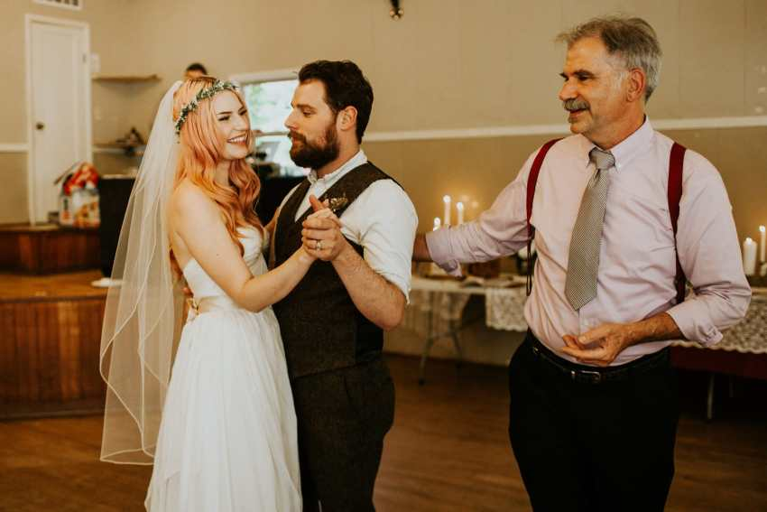 dad giving bride to groom first dance