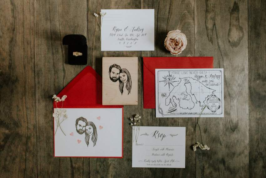 custom red wedding invitations