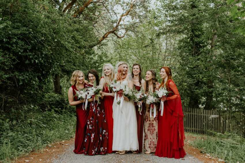 orcas island wedding red bridesmaids dress