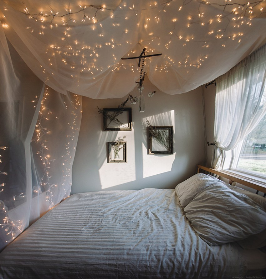 Bedroom Lamps Bedroom Sets For Tweens Bedroom Aesthetic Tumblr Black And White Small Bedroom: String Light Bed Canopy - Jacquelyn Portolese