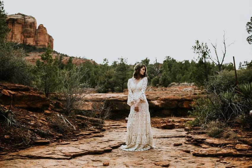 bohemian bride desert sedona cathedral rock