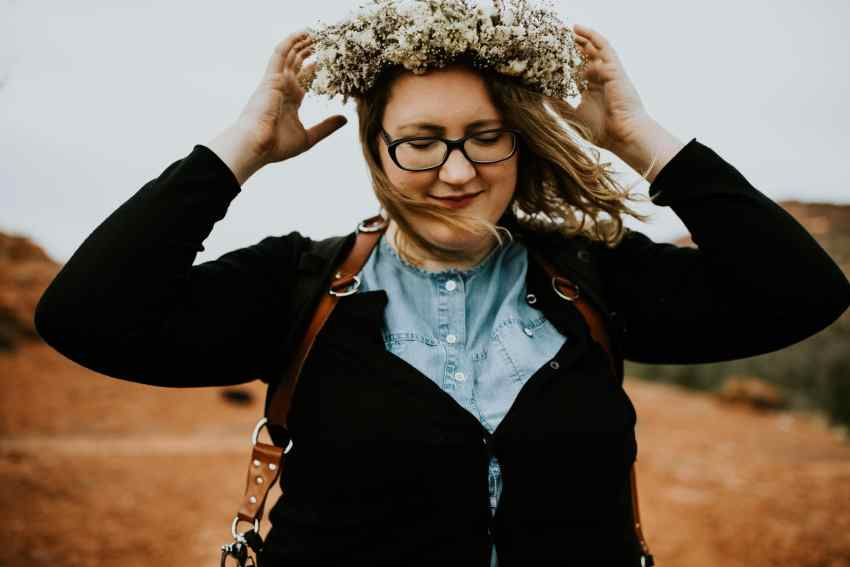 boho girl wearing flower crown