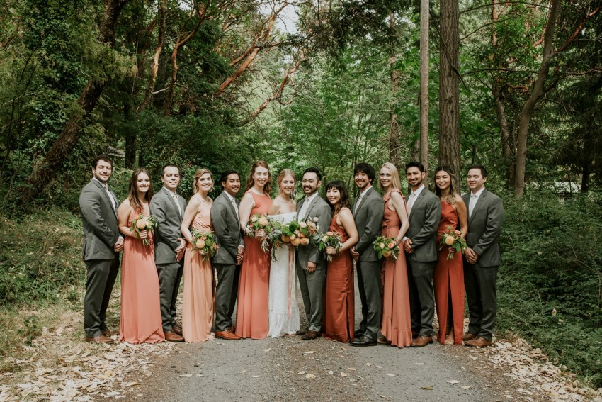 seattle wedding photographer cute bridal party photo