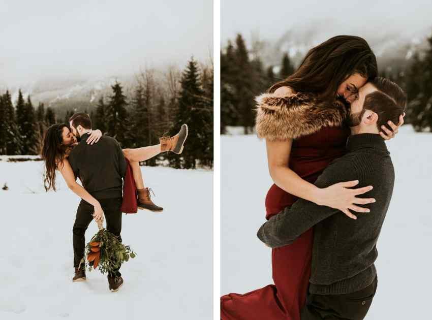 winter snoqualmie pass engagement shoot