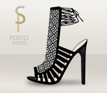 sandalia alta black&white estampado geométrico