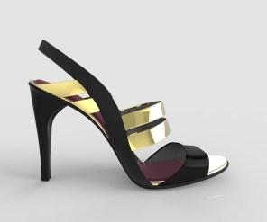 sandalia negra y dorada